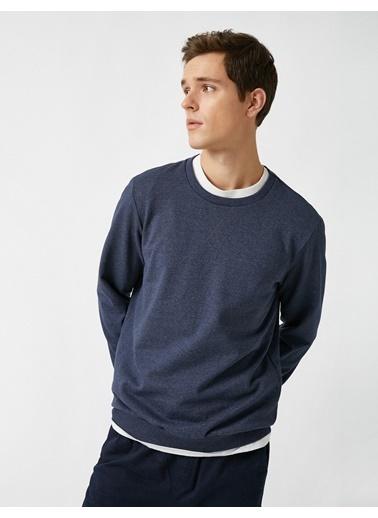 Koton Bisiklet Yaka Basic Sweatshirt Mavi